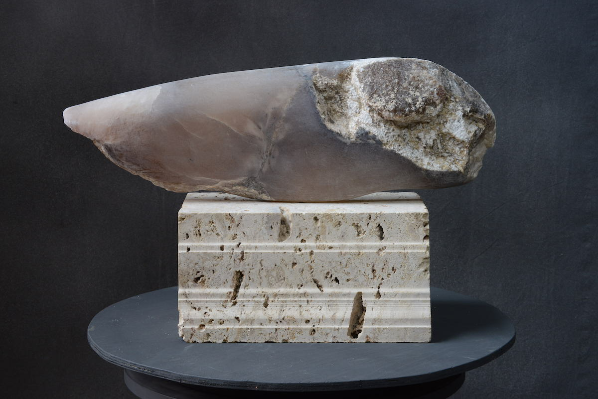Tania Mosse, Fathom, alabaster and limestone, h. 43 cm | Summer Exhibition: Gallery & Invited Artists | Friday 12 July  – Friday 13 September 2019 | Hillsboro Fine Art