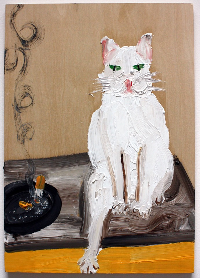 Amanda Doran: Ghost, The Smoking Cat, 2019, oil on board, 42 x 30 cm | Amanda Doran & Sheila Rennick: Pretty Fleshy Paint Things | Thursday 19 September  – Saturday 19 October 2019 | Hillsboro Fine Art