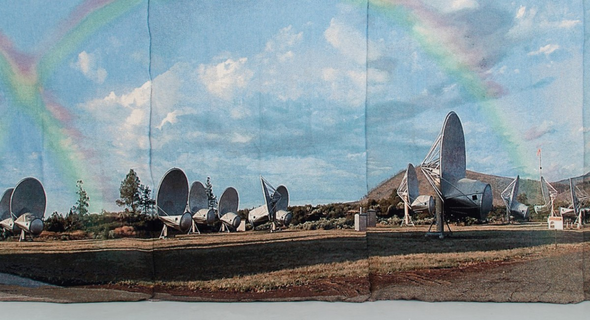 George Bolster,Our Life Mirrored by Two Suns: Kepler 16b, 2018, Jacquard installation room. Image courtesy of the artist. | George Bolster: Tatooine: Sci-Fi Becoming Reality | Friday 20 September  – Friday 1 November 2019 | Sirius Arts Centre