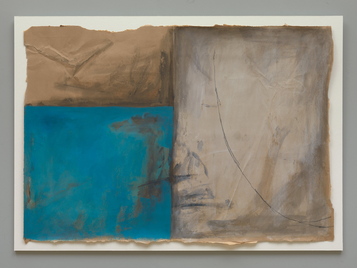Guggi: Broken 18d, 2019, acrylic and graphite on brown paper and perspex frame, 90 x 130.5 cm paper size, 35.4 x 51.4 in paper size; courtesy the artist and Kerlin Gallery, Dublin | Guggi: Broken | Friday 13 December 2019  – Friday 17 January 2020 | Kerlin Gallery