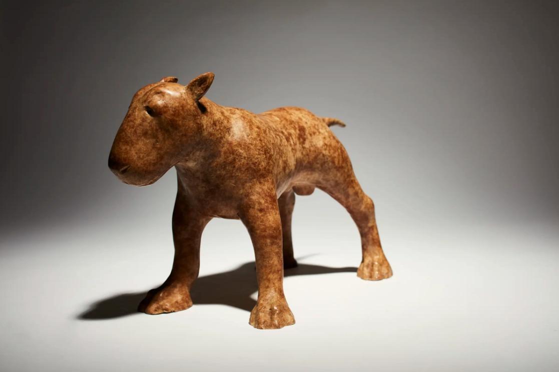 Anthony Scott RUA, Brindle Bull Terrier, bronze, edition of 9, 22 x 30 x 15cm | Anthony Scott RUA: New Sculpture | Friday 1 November  – Saturday 23 November 2019 | Solomon Fine Art