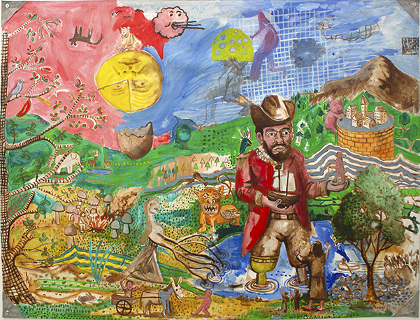 Andrew Pike and Nevan Lahart: Cuckooland, 2018, acrylic on canvas, 152 x 202 cm | Together Now: The Engagement Project | Saturday 23 November 2019  – Saturday 1 February 2020 | F.E. McWilliam Gallery