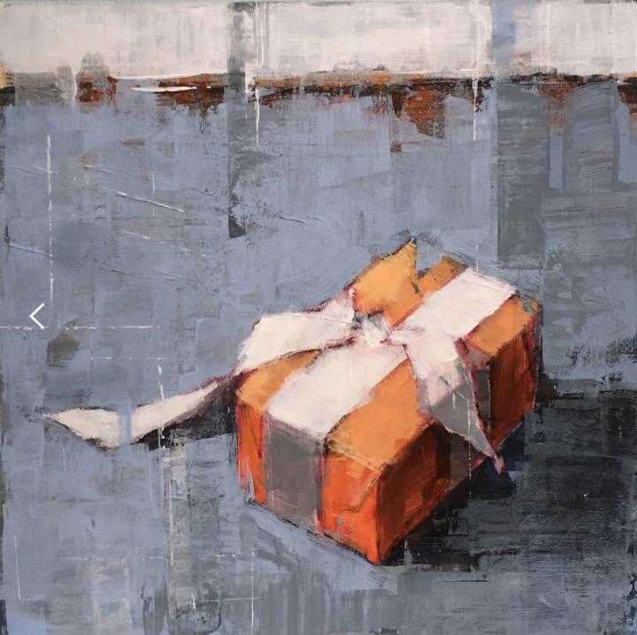 Bridget Flinn: Gift, acrylic on paper, 28 x 28cm | Winter Group Show | Friday 29 November  – Monday 23 December 2019 | Solomon Fine Art
