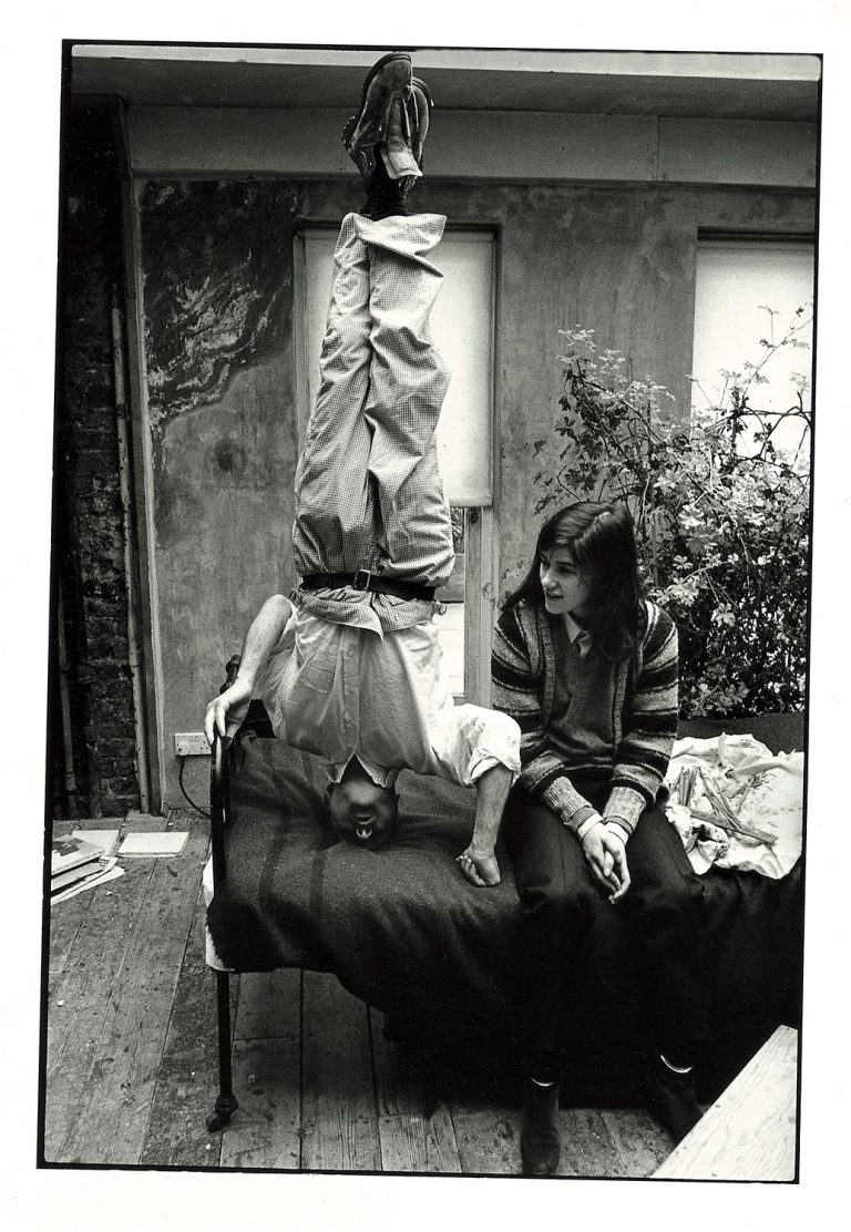 Lucian Freud standing on his head, with daughter Bella, in his studio, circa 1986. © Estate of Bruce Bernard, courtesy of Virginia Verran | IMMA Collection Freud Project, 2016 – 2021 | Friday 21 October 2016  – 2021 | IMMA