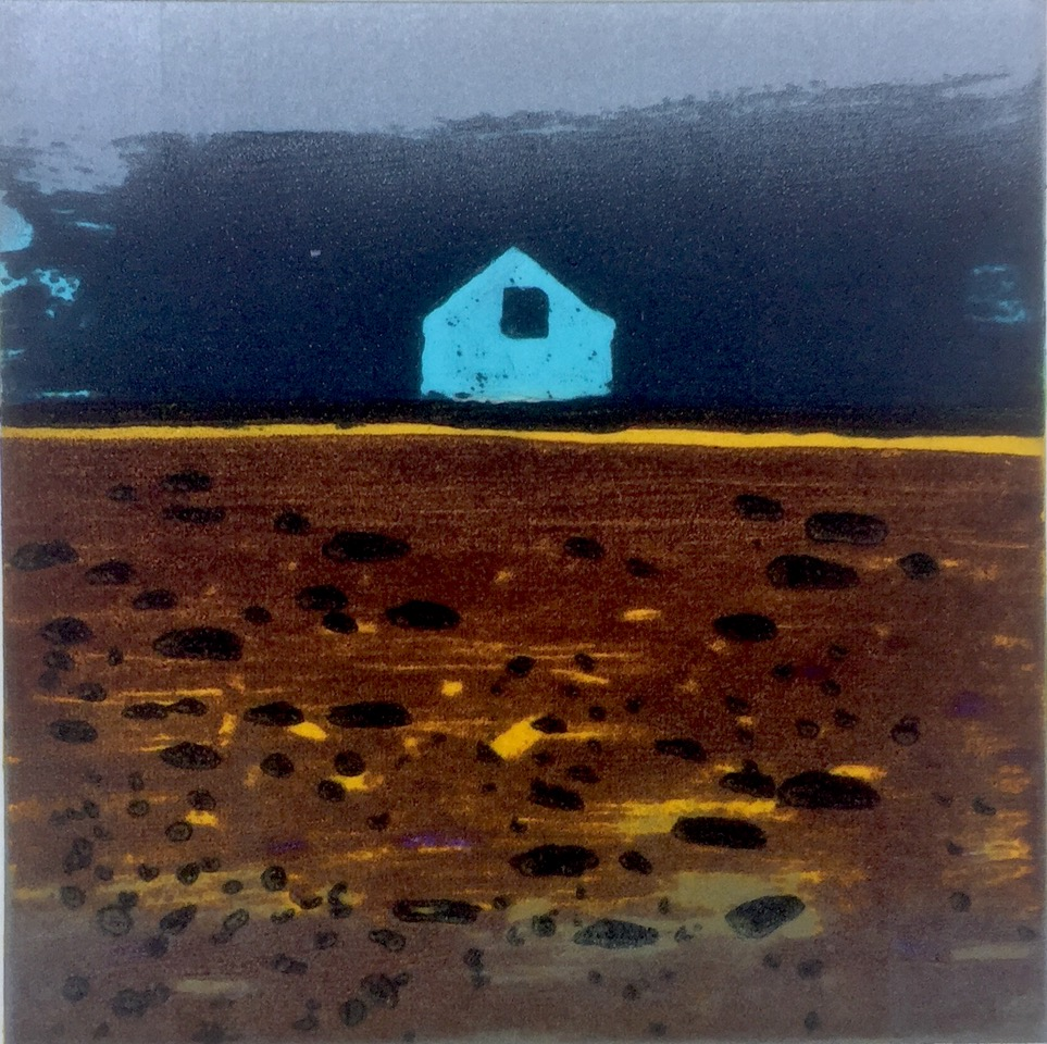 Barbara Rae: Hudsons Bay Hut, Carborundum, paper size : 45h x 46w cm, image size : 22h x 22w cm | Barbara Rae: Crossing Borders | Thursday 27 February  – Thursday 26 March 2020 | SO Fine Art Editions