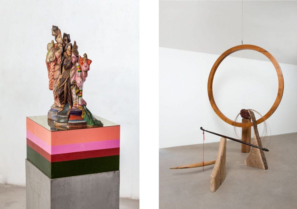 Bharti Kher, Artemis, 2019, Clay, cement, wax, brass, 157.2 x 30 x 30 cm / 61 7/8 x 11 3/4 x 11 3/4 inches, Sculpture: 48.2 x 16 x 16 cm, Cement plinth: 100.5 x 30 cm. Courtesy the artist and Hauser & Wirth; Bharti Kher, Consummate joy and a Sisyphean task, 2019, Wood, copper, steel, red jasper stone, 247 x 66.9 x 200 cm / 97 1/4 x 26 3/8 x 78 3/4 inches. Courtesy the artist and Hauser & Wirth. | Bharti Kher: A Consummate Joy | Friday 13 March  to winter 2020 | IMMA