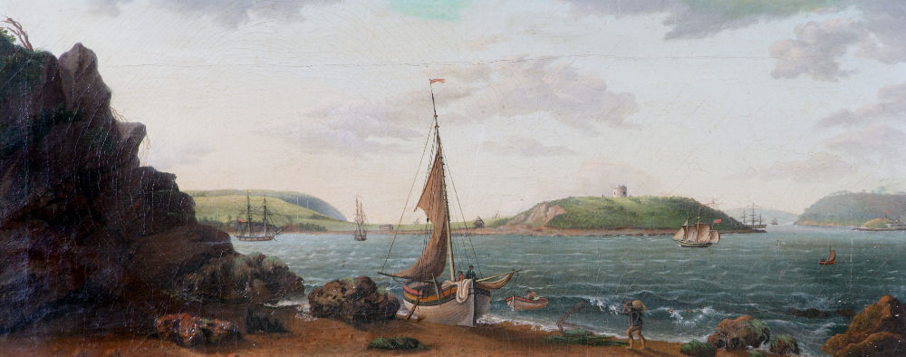 Unknown artist, View of Cork Harbour from Rostellan, Inisbeg Island, 1809. © Collection Crawford Art Gallery, Cork | Statio Bene: Art and Ireland's Maritime Haven | from Saturday 28 March 2020  | Crawford Art Gallery
