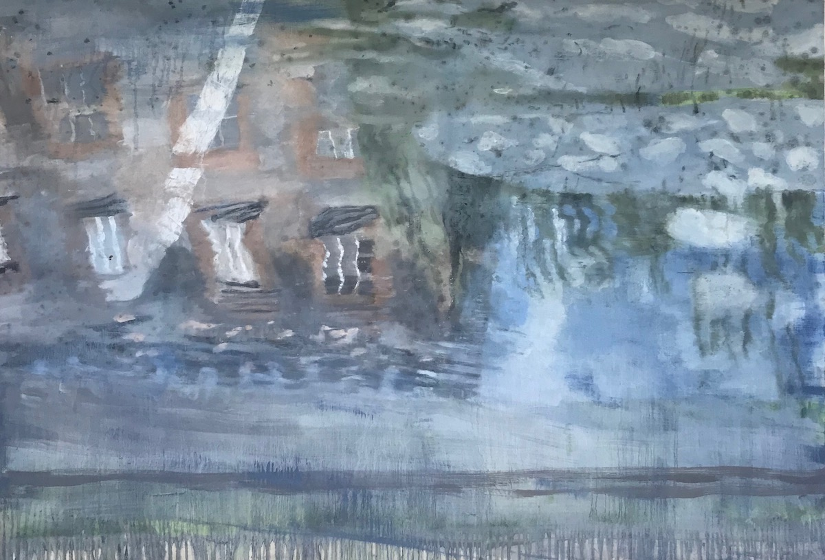 Bernadette Kiely: House on a river - c.y.m.s (Catholic Young Men's Society), oil on canvas, 102 x 113cm | Bernadette Kiely: …one touch of nature makes the whole world kin… | to Friday 17 July  | Taylor Galleries