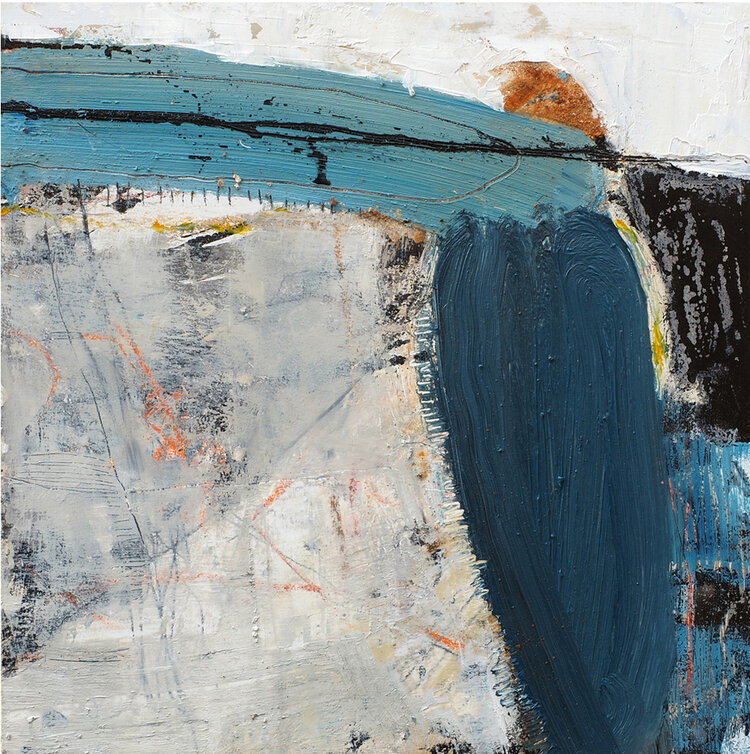 Catherine Weld: Fragile island 1, mixed media, board, 40 x 40cm | West Cork Arts Centre's Members and Friends Exhibition 2020 | Saturday 30 May  – Saturday 29 August 2020 | Uillinn: West Cork Arts Centre