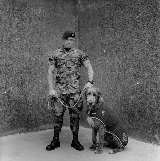Amelia Stein: 'Mascot and Handler', Private James Dooley & Irish Wolfhound Fionn, 2016  | Amelia Stein: The Bloods | Friday 7 August  – Sunday 11 October 2020 | Butler Gallery