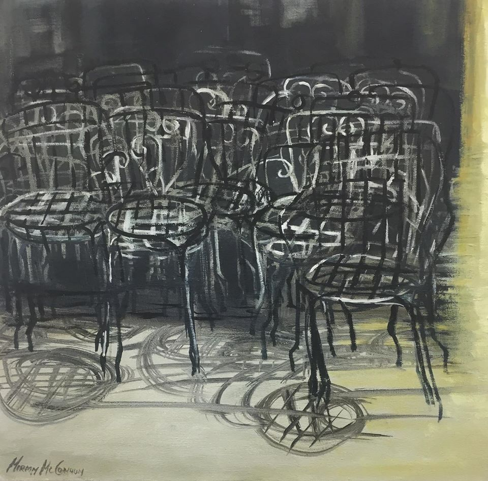 Miriam McConnon, 'Tangled Chairs', oil on canvas, 2017, 46 x 46cm | Resurfacing | Thursday 6 August  – Friday 28 August 2020 | Olivier Cornet Gallery