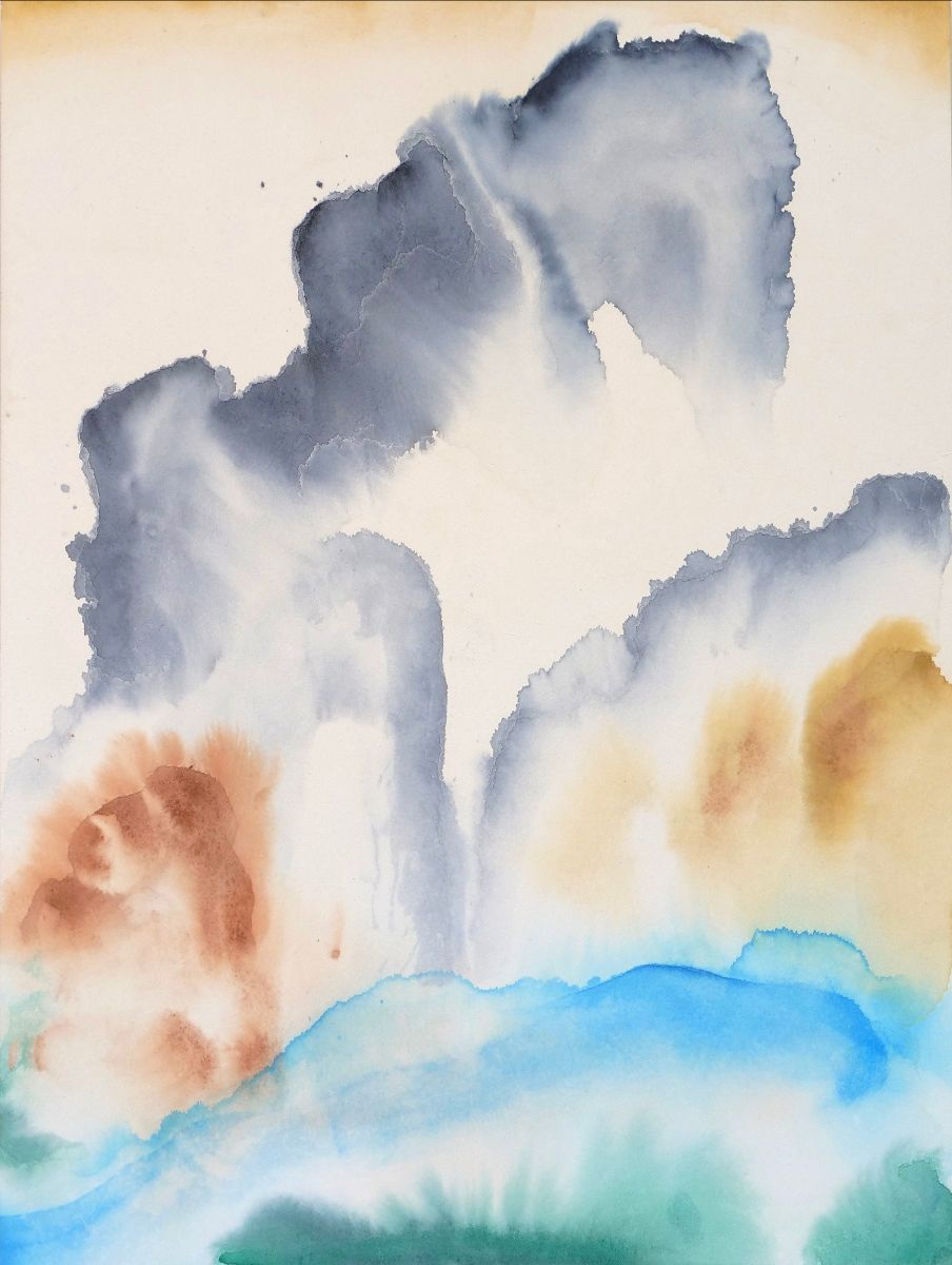 Robert Armstrong, Dragons tightly clinging to rocky cliffs amidst clouds and waves. 80 x 60 cm. Japanese ink on rice paper mounted on panel, 2020 | Robert Armstrong: Three Distances | Thursday 3 September  – Saturday 26 September 2020 | Kevin Kavanagh
