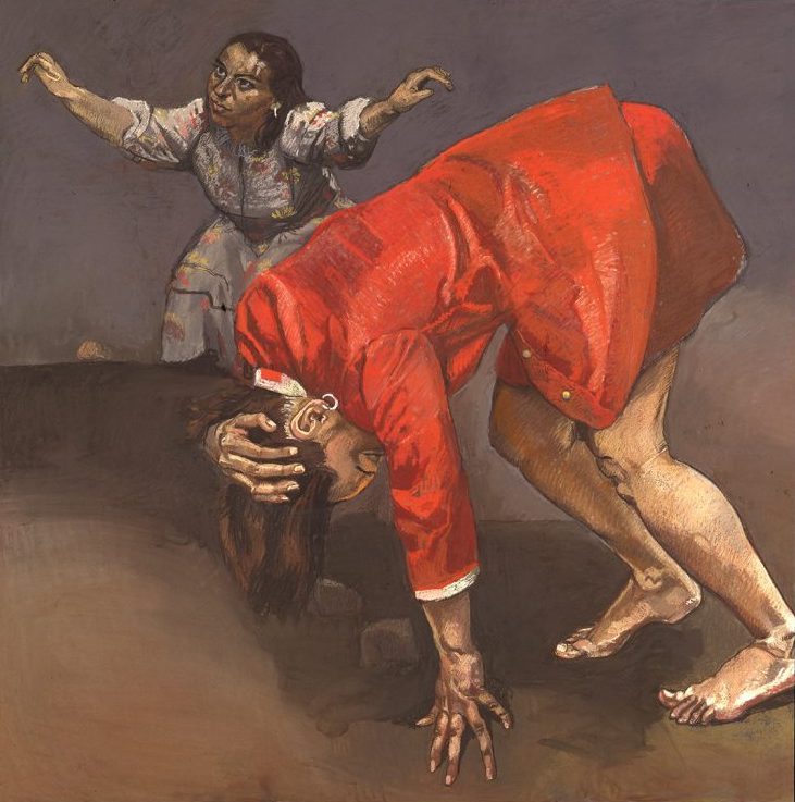 Paula Rego: Two Women Being Stoned, 1995, pastel on paper laid on aluminium, 150 x 150 cm; Private Collection, Courtesy of Marlborough Fine Art. © Paula Rego, Courtesy of The Artist and Marlborough, New York and London | Paula Rego: Obedience and Defiance | Friday 18 September 2020  – Sunday 3 January 2021 | IMMA