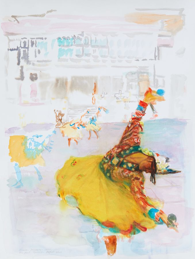 Margaret Corcoran,Buddha Dancing,watercolour on paper, 63 x 48 cm,2020 | Margaret Corcoran: Noli Timere – do not be afraid | Friday 18 September  – Saturday 17 October 2020 | Kevin Kavanagh