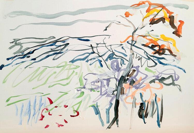 Anastasia O Donoghue Healy, Essence XXXII, acrylic on paper, 23 x 43cm, 2020 | Cork Artists Winter Online Showcase | Friday 20 November 2020  – Friday 22 January 2021 | Uillinn: West Cork Arts Centre