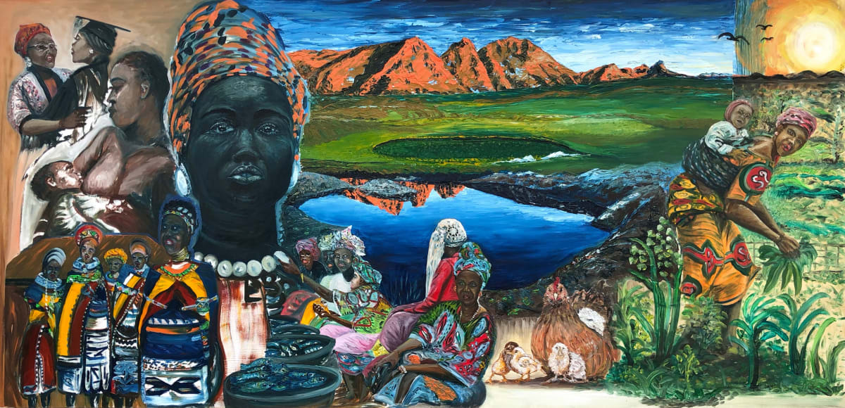 Ajao Adelowokan, The Unsung Heroines, 2019, oil on MDF wood panel, 244 x 122cm | SURVEYOR 2020 | Saturday 21 November  | Solstice Arts Centre
