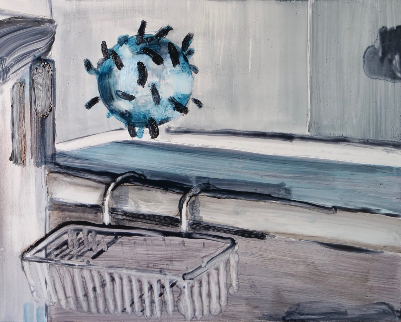 Robert Armstrong: Floating Covid, 2021, oil on panel, 24 x 30cm | Robert Armstrong: Covideos and Covid Paintings | Tuesday 9 March  – Monday 22 March 2021 | Kevin Kavanagh