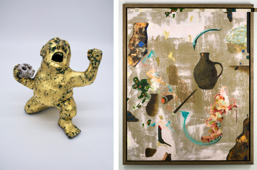 left: Damien Flood, Crying Man (Skull), 2020, Unique hand-made coil wound earthenware clay, glaze with 22 carat gold leaf overlay, 13 x 10 x 10 cm, Courtesy of the artist and Green On Red Gallery; right: Damien Flood, Roam, 2020, Oil on linen, 106 x 86 cm, Courtesy of the artist and Green On Red Gallery | Damien Flood: Tilt | Monday 10 May – Sunday 27 June 2021 | Royal Hibernian Academy