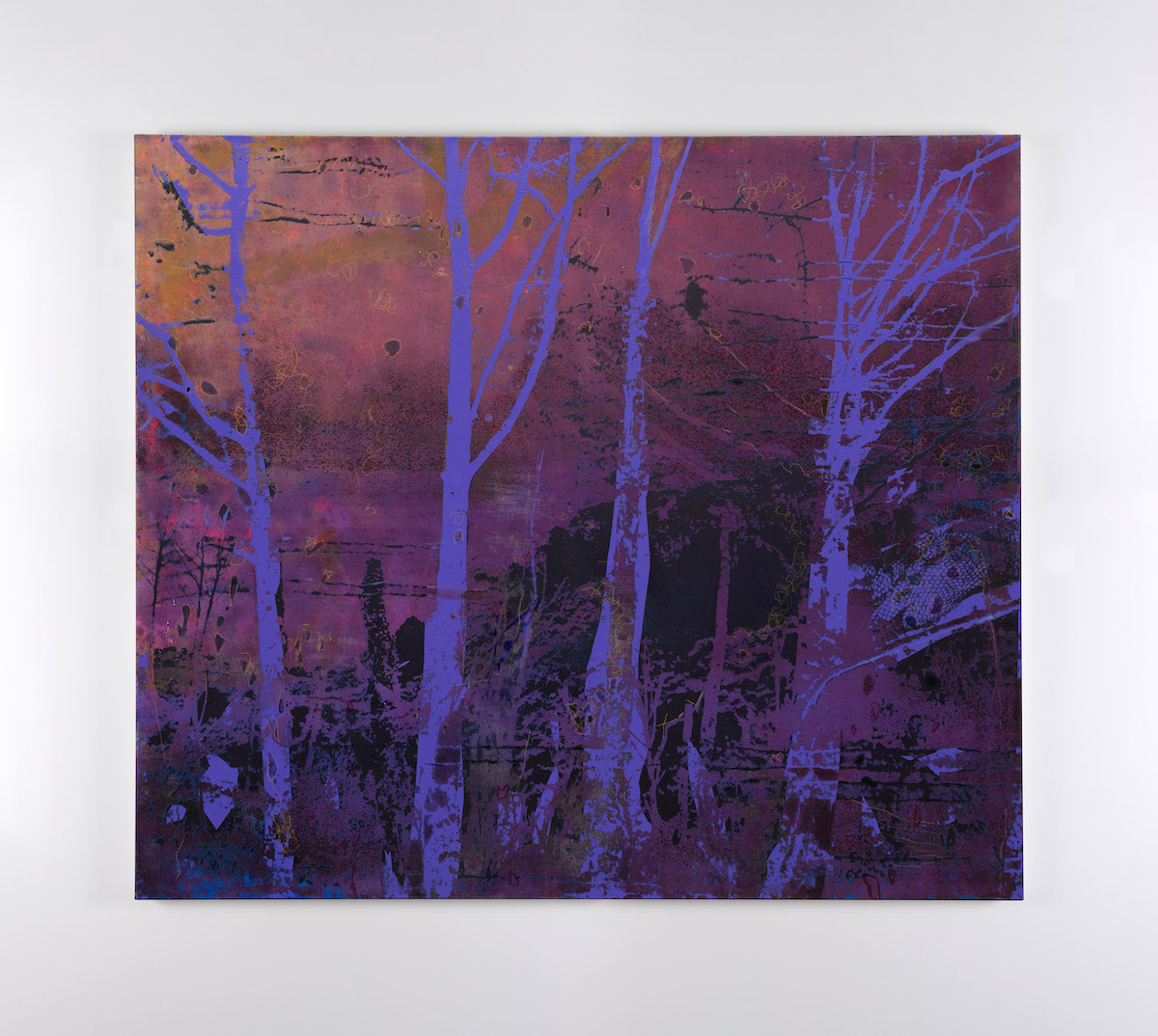 Elizabeth Magill, Variation (2),2021, oil and screenprint on canvas, 128 x 148 cm / 50.4 x 58.3 in | Elizabeth Magill: Red Stars and Variations | Saturday 29 May – Saturday 10 July 2021 | Kerlin Gallery