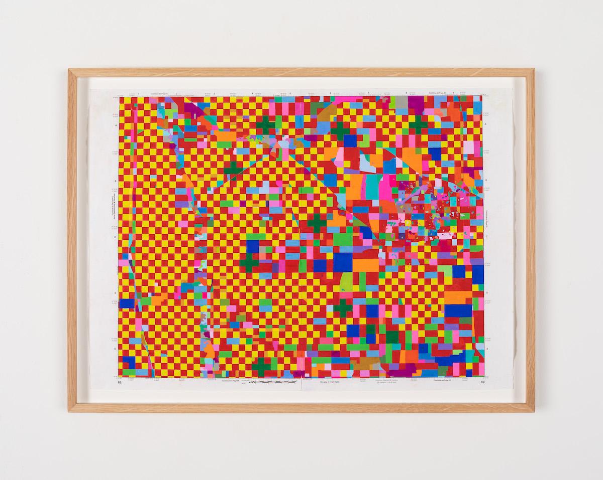 Kathy Prendergast, Road Trip 4, 2020, gouache on paper, 44.6 x 60.3 cm / 17.6 x 23.7 in framed   Kathy Prendergast   Saturday 29 May – Saturday 10 July 2021   Kerlin Gallery