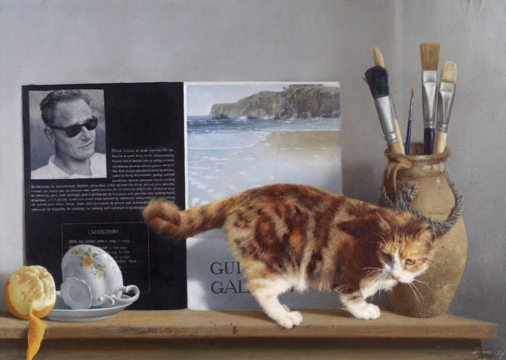 Patrick Hennessy, Self Portrait and Cat, 1978 | Menagerie: Animals by Artists | Friday 4 June 2021 – Sunday 6 March 2022 | Crawford Art Gallery