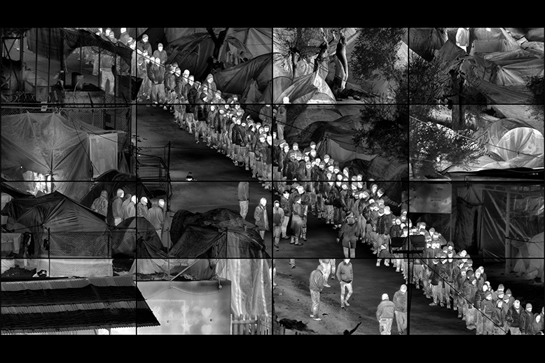 Richard Mosse, 'Grid (Moria)', 2017, Produced in Moria refugee camp, Lesbos, Greece, 2016-2017, Sixteen channel HD video grid in a 4x4 array. No audio. 6 minutes 52 seconds. © Richard Mosse. Courtesy of the artist, Jack Shainman Gallery and carlier | gebauer | Richard Mosse: Incoming and Grid (Moria) | Friday 11 June – Sunday 29 August 2021 | Butler Gallery