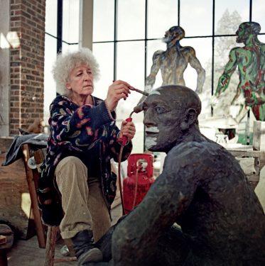 Anne-Katrin Purkiss: Elizabeth Frink in her studio, 1993 | Sculptors at Work: Photographs by Anne-Katrin Purkiss | autumn 2021 Sunday 31 October 2021 | F.E. McWilliam Gallery