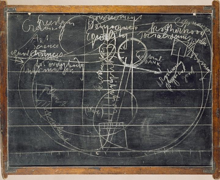 Joseph Beuys, The Blackboards, Dublin, 1974. Collection and image © Hugh Lane Gallery. © Estate of Joseph Beuys. Bildkunst Bonn/IVARO Dublin, 2021 | Joseph Beuys: From the Secret Block to Rosc | Friday 18 June – Sunday 31 October 2021 | Dublin City Gallery The Hugh Lane