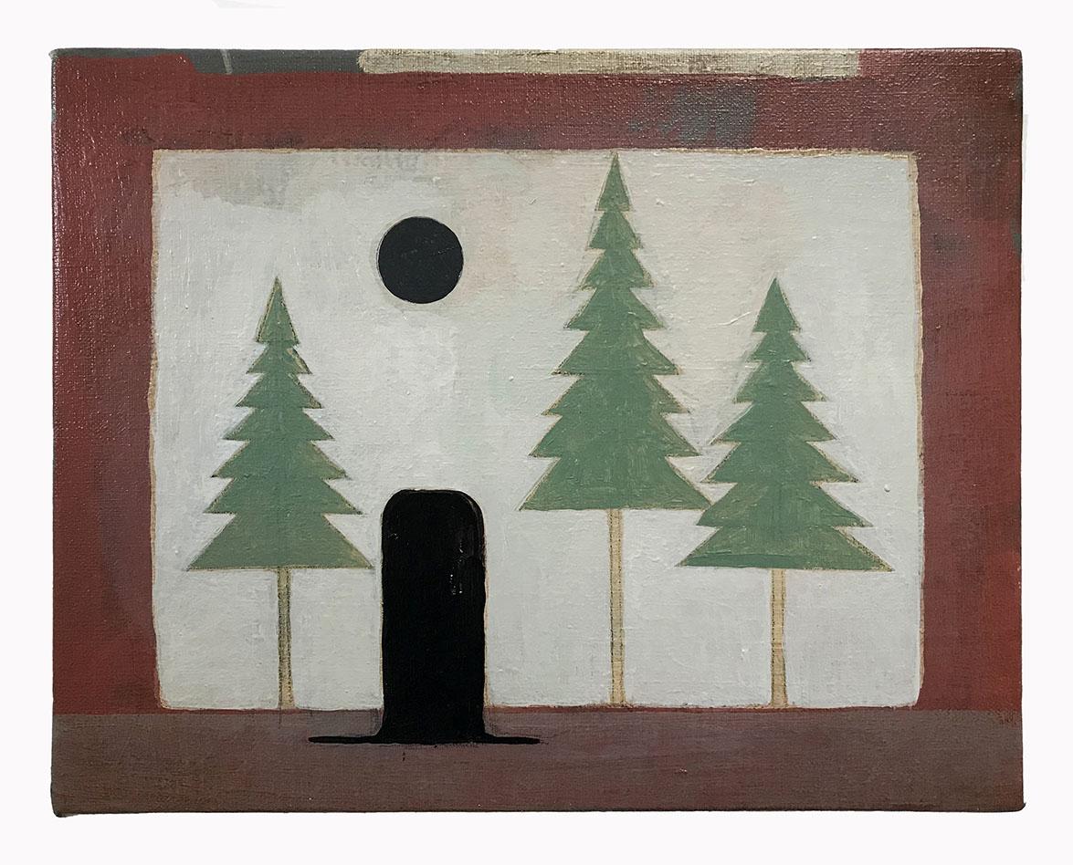 Stephen Brandes: Hat in Forest, acrylic on canvas, 23 x 29cm, 2020 | Stephen Brandes: La Place des Grands Abysses | Saturday 24 July – Saturday 4 September 2021 | Uillinn: West Cork Arts Centre