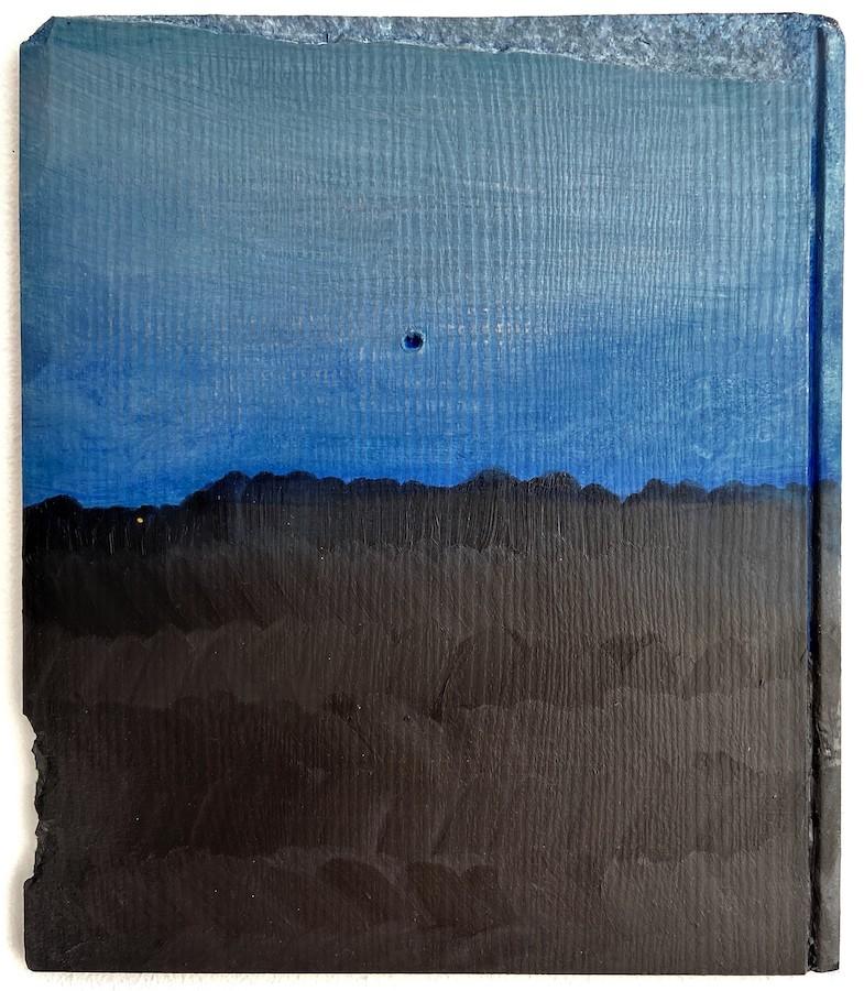 Róisín O'Sullivan: Home Turf, oil on found wood, 23.5 x 20cm | NUA | Saturday 3 July – Saturday 31 July 2021 | SO Fine Art Editions