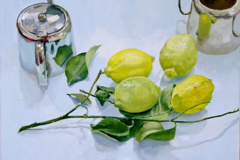Blaise Smith: Lemons and Teapot, 2005, oil on canvas 50 x 70cm © the artist; Private Collection   Blaise Smith: Still Life Paintings   Saturday 18 September – Sunday 14 November 2021   Butler Gallery