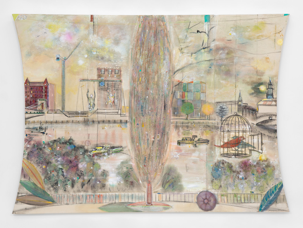 Merlin James, The Window,2020, acrylic and mixed materials, 151.1 x 208.9 cm / 59.5 x 82.25 in | Merlin James: Window | Saturday 4 September – Saturday 9 October 2021 | Kerlin Gallery