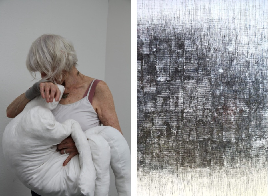 Left: Patricia Therry, The Waiting Room, 2020-21, performance (video still) Right: Gerda Teljeur, Cocooning, 2020, ink on paper, 155 x 150cm | The Age of Reason / Unreason (Part 3) | Monday 16 August – Wednesday 6 October 2021 | Wexford Arts Centre