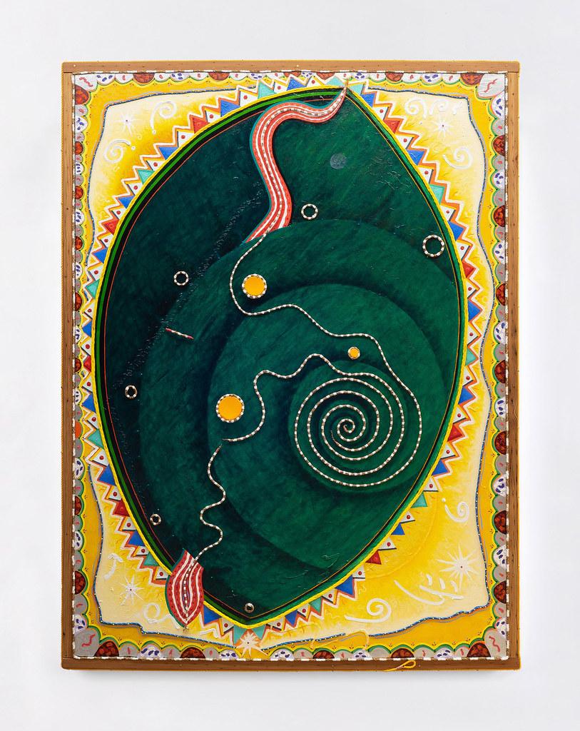 Daniel Rios Rodriguez: Wandering Star, 2021, oil, rope and nails on canvas, 205.7 x 156.2 cm   Daniel Rios Rodriguez: Serpentine Dream   Friday 15 October – Saturday 20 November 2021   Kerlin Gallery
