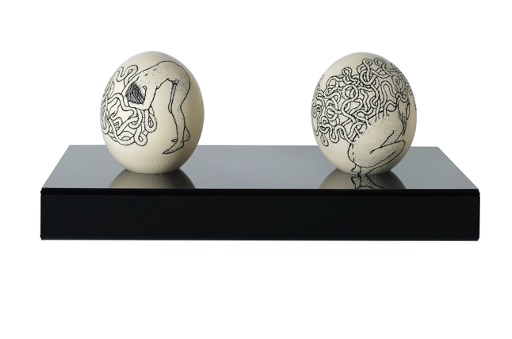 Alice Maher RHA,Leda's Daughters (song of the worms), Scrimshaw on ostrich eggs, Each 15 x 12cm, Shelf 51 x 27cm, Image courtesy of the artist. | 191st RHA Annual Exhibition | Monday 27 September – Saturday 30 October 2021 | Royal Hibernian Academy