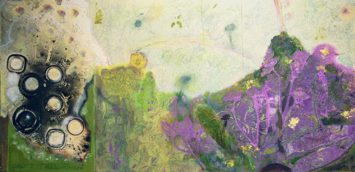 Sarah Long: Pushing up daisies, 50 x 100 cm, oil and mixed media on canvas | Sarah Long: How to Resist a State of Forgetfulness | Saturday 9 October – Saturday 6 November 2021 | SO Fine Art Editions