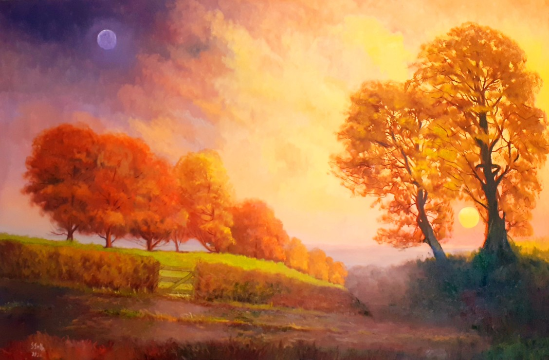 Seamus Smyth: The Rising Moon and Setting Sun, oil on canvas | Seamus Smyth: Celebrating 50 Years | Friday 1 October – Friday 15 October 2021 | Solstice Arts Centre